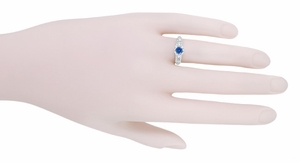 Mid Century Cornflower Blue Sapphire and Diamond Vintage Engagement Ring in 14 Karat White Gold - Item R728W - Image 4