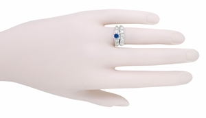 Mid Century Cornflower Blue Sapphire and Diamond Vintage Engagement Ring in 14 Karat White Gold - Item R728W - Image 5