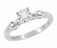 Retro Moderne White Sapphire Engagement Ring in 14 Karat White Gold