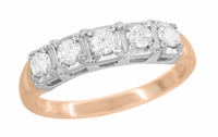 Mid Century Straightline Diamond Wedding Ring in 14 Karat White and Rose ( Pink ) Gold