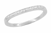 Curved Diamond Wedding Band in Platinum