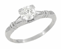 Art Deco Hearts and Clovers Diamond Engagement Ring in 14 Karat White Gold