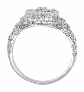 Art Deco Filigree Crystal and Diamond Ring in Sterling Silver - Click to enlarge