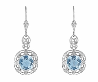 Art Deco Filigree Cushion Cut Sky Blue Topaz Drop Earrings in Sterling Silver - 1920's Gatsby Earring Style