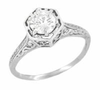 Art Deco Diamond Filigree Engagement Ring in 14 Karat White Gold