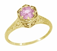 Art Deco Pink Sapphire Filigree Engagement Ring in 14 Karat Yellow Gold