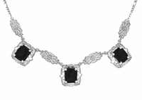 Art Deco Filigree Black Onyx 3 Drop Necklace in Sterling Silver