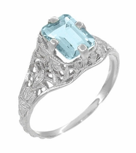 Art Deco Emerald Cut Aquamarine Filigree Engagement Ring in 18 Karat White Gold - Item R617W - Image 2