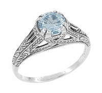 Art Deco Filigree Engraved Blue Topaz Promise Ring in Sterling Silver