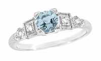 Aquamarine and Diamond Art Deco Engagement Ring in 18 Karat White Gold