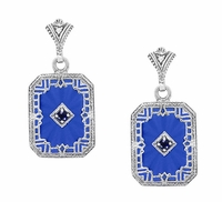 Art Deco Filigree Royal Blue Sun Ray Crystal Earrings with Sapphire and Diamond in Sterling Silver
