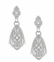 Art Deco Dangling Sterling Silver Diamond Filigree Earrings