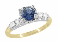 Mid Century Cornflower Blue Sapphire Engagement Ring in 14K White and Yellow Gold | 1950s Vintage-Inspired