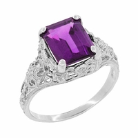 Edwardian Filigree Emerald Cut Amethyst Engagement Ring in 14 Karat White Gold