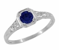 Art Deco Filigree Blue Sapphire and Diamond Engagement Ring in 18 Karat  White Gold