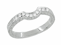 Royal Crown Curved Diamond Engraved Wedding Band in Platinum
