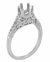Art Deco 1/4 - 1/3 Carat Crown of Leaves Filigree Engagement Ring Setting in Platinum