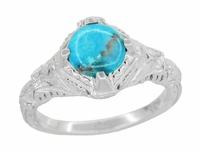 Art Deco Turquoise Engraved Filigree Ring in Sterling Silver
