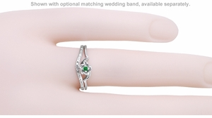 Retro Moderne Rose Emerald Ring in 14 Karat White Gold - Item R377E - Image 2