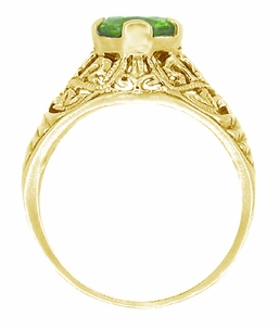 Peridot Filigree Edwardian Engagement Ring in 14 Karat Yellow Gold - Click to enlarge