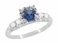 Mid Century Cornflower Blue Sapphire and Diamond Vintage Engagement Ring in 14 Karat White Gold