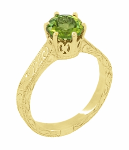 Art Deco Crown Filigree Scrolls 1.25 Carat Peridot Engagement Ring in 18 Karat Yellow Gold - Item R199YPER - Image 1