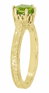 Art Deco Crown Filigree Scrolls 1.25 Carat Peridot Engagement Ring in 18 Karat Yellow Gold - Item R199YPER - Image 2