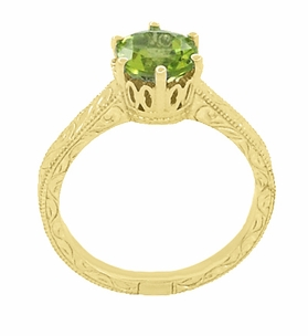Art Deco Crown Filigree Scrolls 1.25 Carat Peridot Engagement Ring in 18 Karat Yellow Gold - Item R199YPER - Image 3