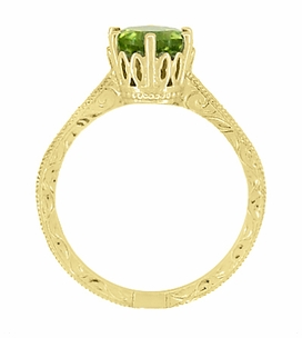 Art Deco Crown Filigree Scrolls 1.25 Carat Peridot Engagement Ring in 18 Karat Yellow Gold - Click to enlarge
