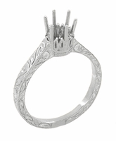 Art Deco 1/4 Carat Crown Filigree Scrolls Engagement Ring Setting in Palladium
