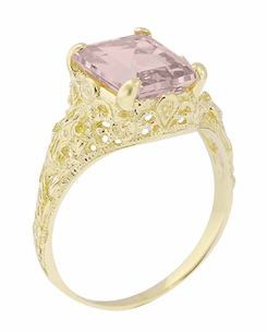 Emerald Cut Morganite Filigree Edwardian Engagement Ring in 14 Karat Yellow Gold - Item R618YM - Image 2
