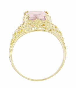 Emerald Cut Morganite Filigree Edwardian Engagement Ring in 14 Karat Yellow Gold - Click to enlarge