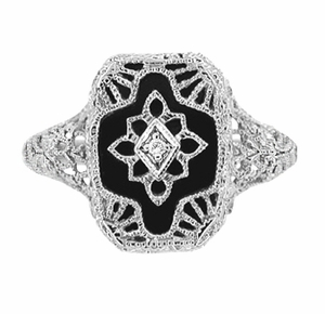 Art Deco Filigree Onyx and Diamond Ring in Sterling Silver - Item SSR11 - Image 1