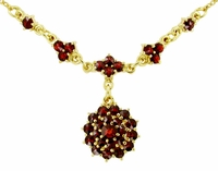 Victorian Bohemian Garnet Floral Drop Necklace in Sterling Silver Vermeil