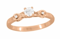 Retro Moderne 1/4 Carat Diamond Engagement Ring in 14 Karat Rose Gold | 1940's Vintage Replica