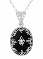 Art Deco Flowers Oval Black Onyx and Diamond Filigree Pendant Necklace in Sterling Silver