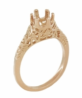 Art Deco 3/4 - 1 Carat Crown of Leaves Filigree Engagement Ring Setting in 14 Karat Rose Gold