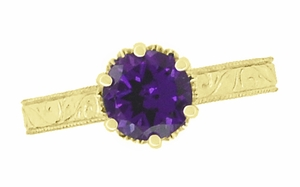 Art Deco Crown Filigree Scrolls Amethyst Engagement Ring in 18 Karat Yellow Gold - Item R199YAM - Image 4
