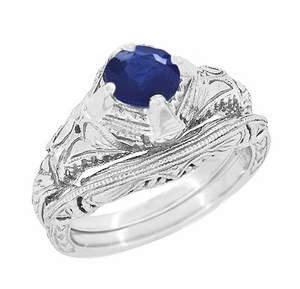 Art Deco Blue Sapphire Engraved Filigree Engagement Ring in 14 Karat White Gold - Click to enlarge