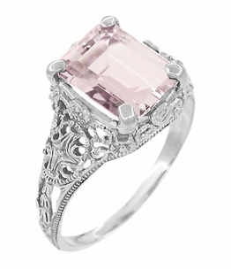 Filigree Emerald Cut Morganite Edwardian Engagement Ring in 14 Karat White Gold - Item R618M - Image 1