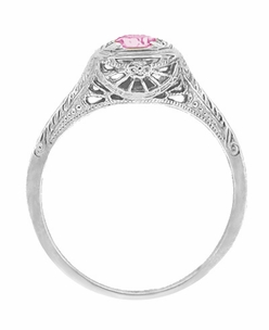 Filigree Scrolls Engraved Platinum Pink Sapphire Art Deco Engagement Ring  - Click to enlarge