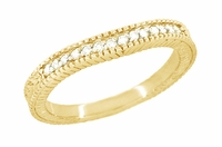 Art Deco Curved Wheat Diamond Wedding Band in 18 Karat Yellow Gold