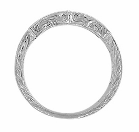 Art Deco Engraved Scrolls Wedding Ring in 18 Karat White Gold with Diamonds - Item WR628W - Image 1