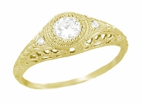 Art Deco Engraved Filigree White Sapphire Engagement Ring in 18 Karat Yellow Gold