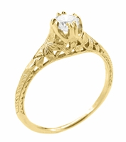 Art Deco Filigree Flowers & Wheat 1/3 Carat Engraved 18K Yellow Gold Engagement Ring Setting | Antique Inspired 4.5mm Stone Mount