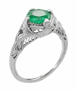 Art Deco Engraved Filigree Emerald Engagement Ring in 14 Karat White Gold - Item R410W - Image 1