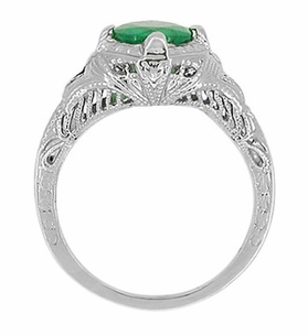 Art Deco Engraved Filigree Emerald Engagement Ring in 14 Karat White Gold - Click to enlarge