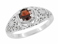 Edwardian Filigree Flowers Almandite Garnet Dome Engagement Ring in 14 Karat White Gold