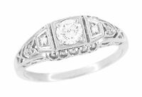 Art Deco Filigree Diamond Platinum Engagement Ring