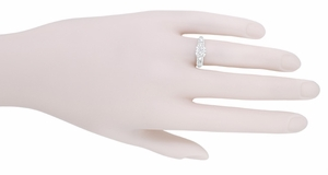 Mid Century Vintage Style Diamond Engagement Ring in 14 Karat White Gold - Item R728WD - Image 4